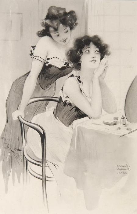 On the dressing table, 1904 by Raphael Kirchner (1875-1917, Austria)