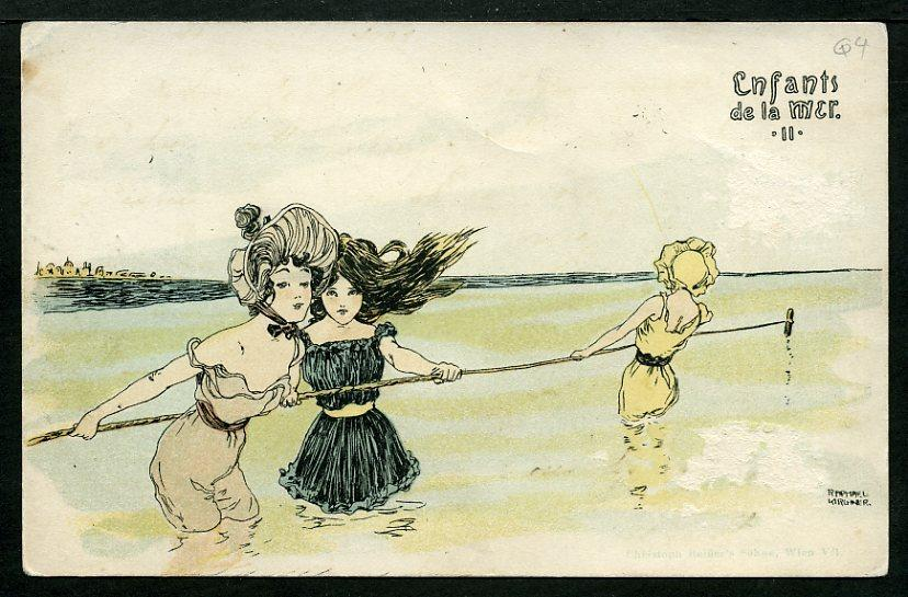 Boys and girls at sea by Raphael Kirchner (1875-1917, Austria)