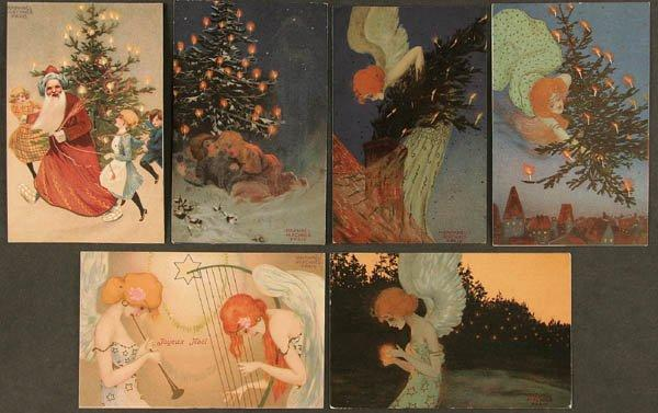 Christmas pictures signed with Paris by Raphael Kirchner (1875-1917, Austria)
