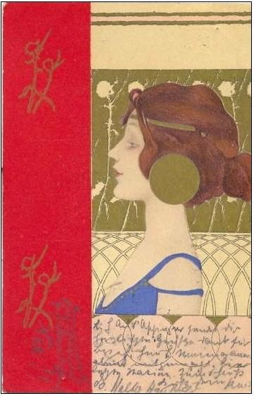 Girls faces with red border by Raphael Kirchner (1875-1917, Austria)