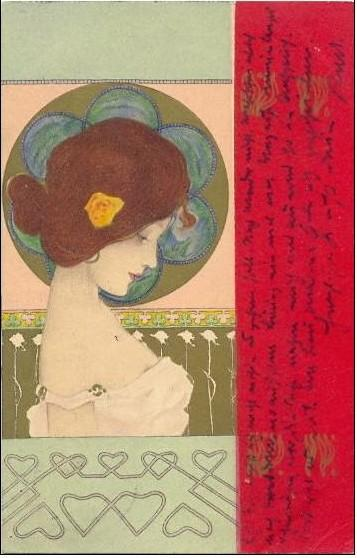 Girls faces with red border (8) by Raphael Kirchner (1875-1917, Austria)
