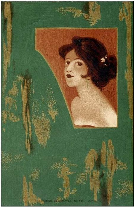 Girls' heads and shoulders on a green panel by Raphael Kirchner (1875-1917, Austria)