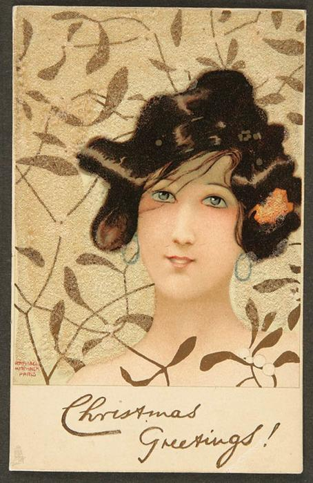 Girls heads on Christmas-foliage background by Raphael Kirchner (1875-1917, Austria)