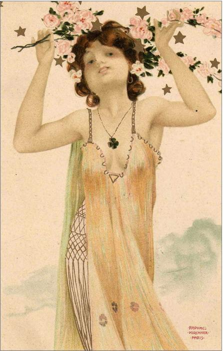 Girls with good luck charms by Raphael Kirchner (1875-1917, Austria)