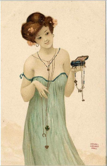 Girls with good luck charms by Raphael Kirchner (1875-1917, Austria) | Oil Painting | ArtsDot.com