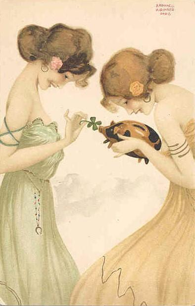 Girls with good luck charms (10) by Raphael Kirchner (1875-1917, Austria)