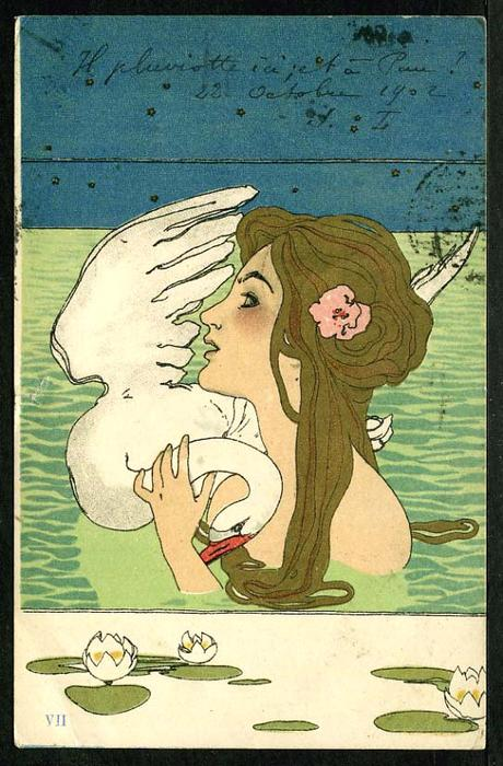 Leda and the Swan (8) by Raphael Kirchner (1875-1917, Austria)