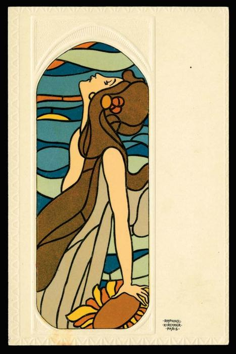 Stained Glass Art by Raphael Kirchner (1875-1917, Austria)