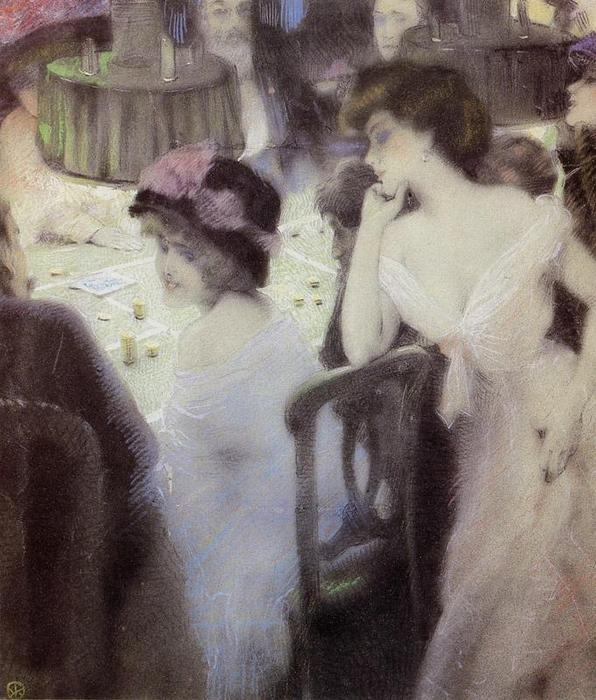 The Players (pastel on paper), Pastel by Raphael Kirchner (1875-1917, Austria)