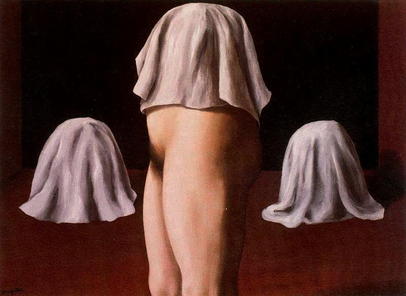The symmetrical trick, Oil On Canvas by Rene Magritte (1898-1967, Belgium)