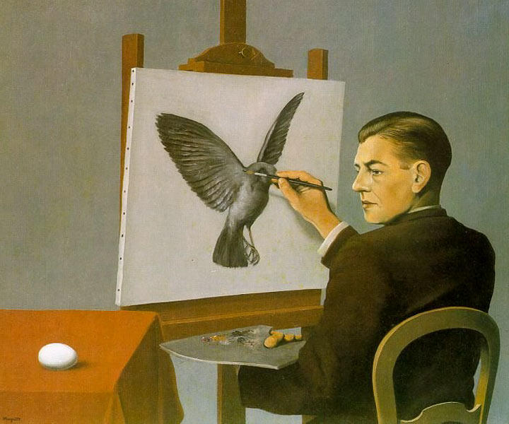 Clairvoyance (Self Portrait), Oil On Canvas by Rene Magritte (1898-1967, Belgium)
