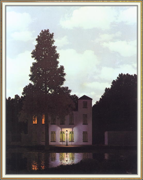 The empire of lights, Oil On Canvas by Rene Magritte (1898-1967, Belgium)