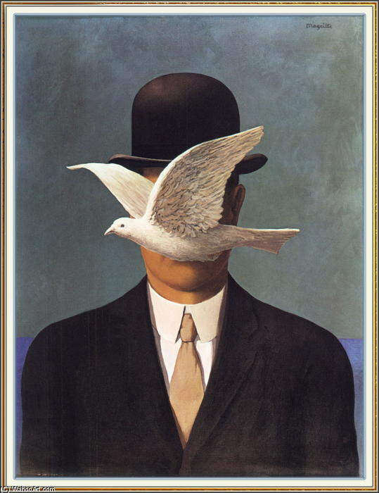Man in a Bowler Hat, Oil On Canvas by Rene Magritte (1898-1967, Belgium)