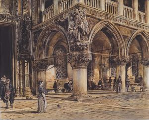 Rudolf Von Alt - View of the Ducal Palace in Venice