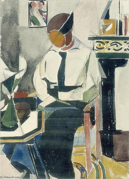 Lena in interieur, Gouache by Theo Van Doesburg (1883-1931, Netherlands)