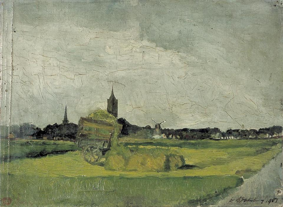Landscape with hay cart, church towers and windmill, Oil On Canvas by Theo Van Doesburg (1883-1931, Netherlands)