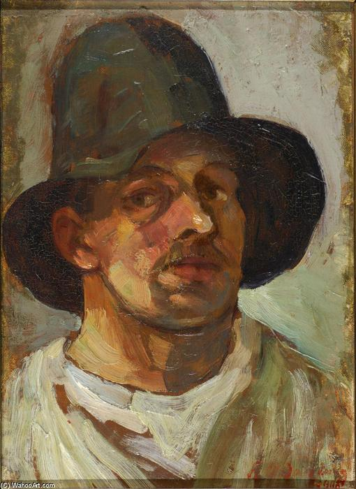 Self portrait with hat, Oil On Canvas by Theo Van Doesburg (1883-1931, Netherlands)