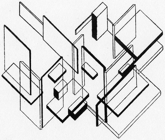 Architectural Analysis, Ink by Theo Van Doesburg (1883-1931, Netherlands)
