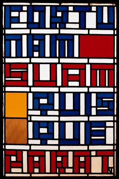 Stained glass window. Leaded glass. by Theo Van Doesburg (1883-1931, Netherlands)