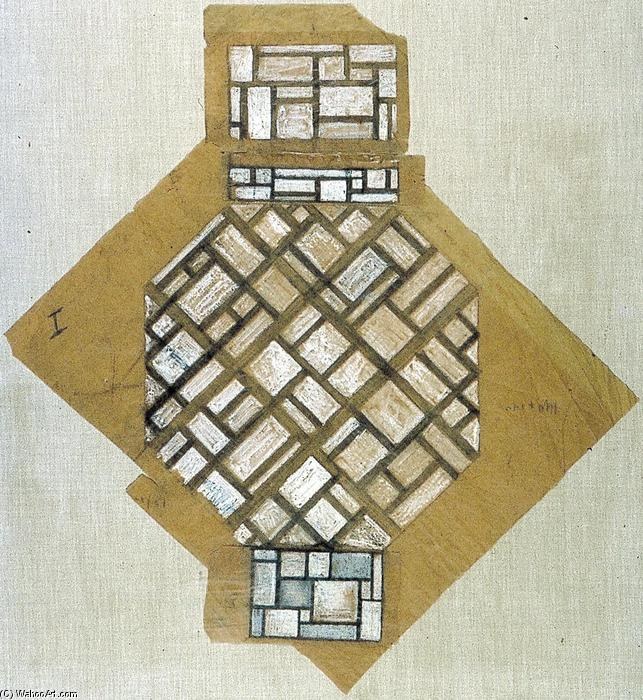 Sketch for the ceiling, Gouache by Theo Van Doesburg (1883-1931, Netherlands)