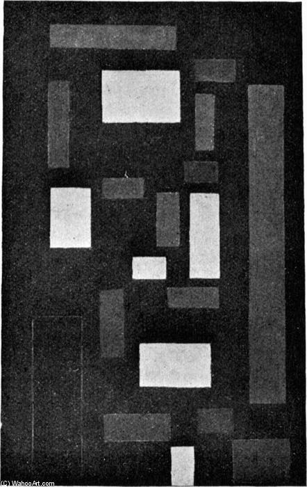 Composition VI (on black fond), Oil by Theo Van Doesburg (1883-1931, Netherlands)