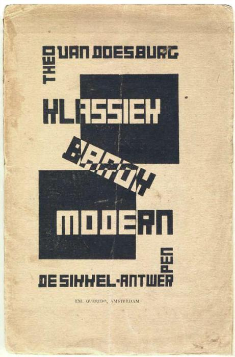 Cover of ''Classic, Modern, Baroque'', 1920 by Theo Van Doesburg (1883-1931, Netherlands)
