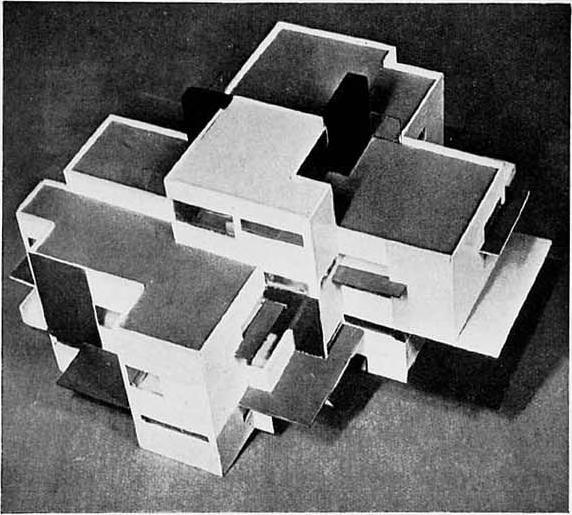 Private house, model, seen from the west, 1923 by Theo Van Doesburg (1883-1931, Netherlands)