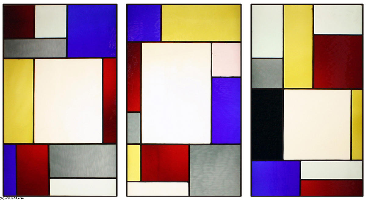 Tripartite stained glass window by Theo Van Doesburg (1883-1931, Netherlands)