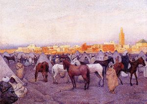 Theo Van Rysselberghe - Encampment near a Moroccan Village