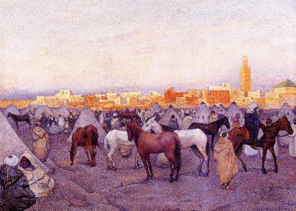 Encampment near a Moroccan Village, Oil On Canvas by Theo Van Rysselberghe (1862-1926, Belgium)