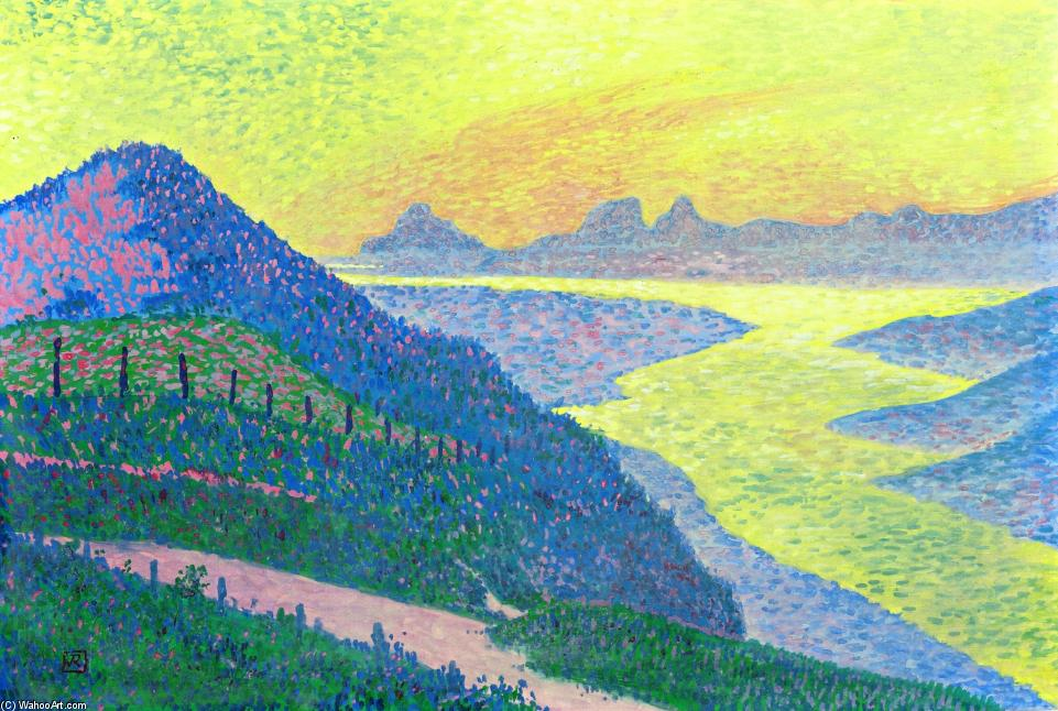 Sunset at Ambleteuse, 1899 by Theo Van Rysselberghe (1862-1926, Belgium)