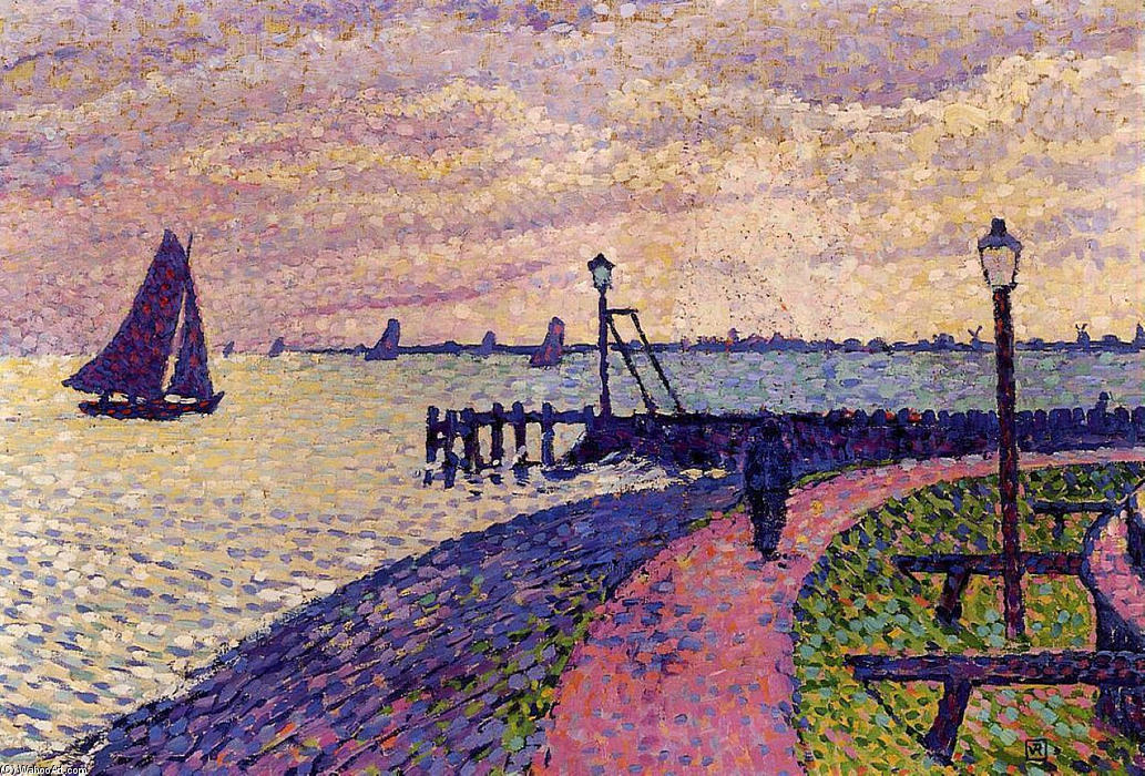 Port Entrance at Volendam, Oil On Canvas by Theo Van Rysselberghe (1862-1926, Belgium)