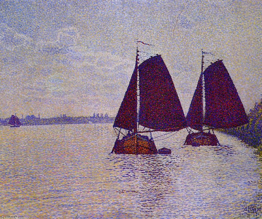 Barges on the River Scheldt, Oil On Canvas by Theo Van Rysselberghe (1862-1926, Belgium)