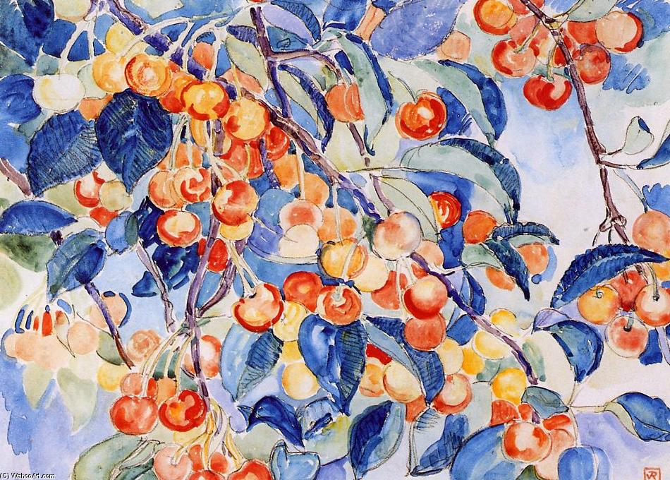 Cherries, Watercolour by Theo Van Rysselberghe (1862-1926, Belgium)