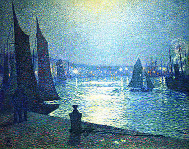 Moonlight Night in Boulogne by Theo Van Rysselberghe (1862-1926, Belgium) | ArtsDot.com