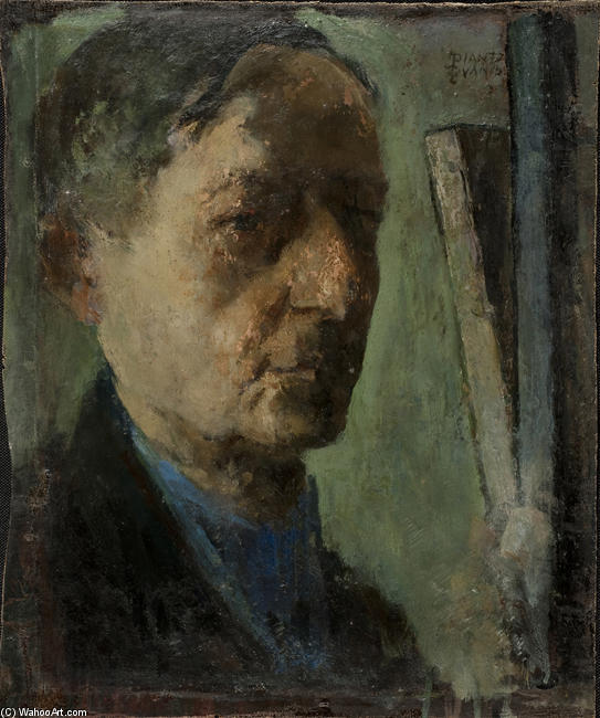 Self-Portrait, Oil On Canvas by Theophrastos Triantafyllidis (1881-1955)