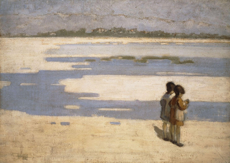 Two Children on the Beach, Oil On Canvas by Theophrastos Triantafyllidis (1881-1955)