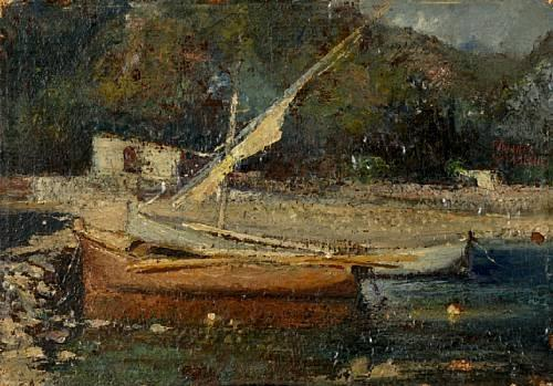 Boats at shore by Theophrastos Triantafyllidis (1881-1955)