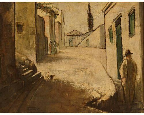Figures on a street by Theophrastos Triantafyllidis (1881-1955)
