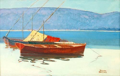 Boats in calm water by Theophrastos Triantafyllidis (1881-1955)
