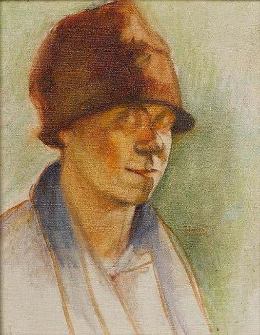 Figure with hat by Theophrastos Triantafyllidis (1881-1955)