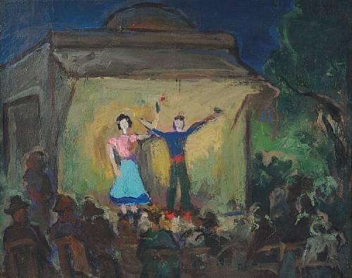 On stage / Open air performance by Theophrastos Triantafyllidis (1881-1955)
