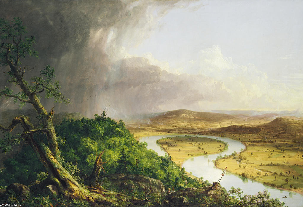 View from Mount Holyoke, Oil by Thomas Cole (1801-1848, United Kingdom)