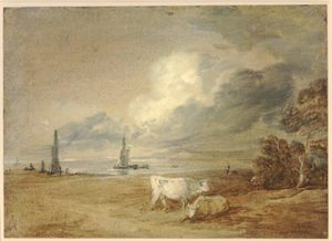 Thomas Gainsborough - Coastal scene with shipping, figures and cows