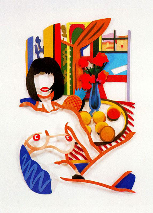 Monica and Matisse, interior with phonograph by Tom Wesselmann (1931-2004, Ohio)