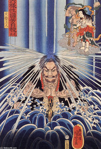 Utagawa Kuniyoshi - Mongaku doing penace at the Nachi waterfall