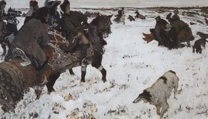 Valentin Alexandrovich Serov - Peter I on the hunt