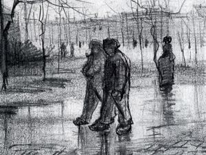Vincent Van Gogh - A Public Garden with People Walking in the Rain