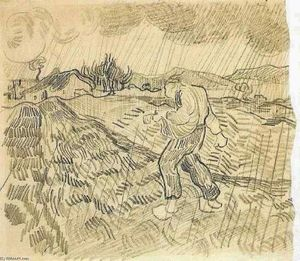 Vincent Van Gogh - Enclosed Field with a Sower in the Rain