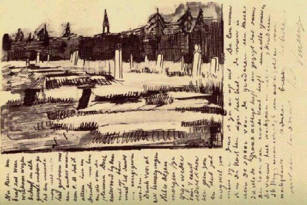 Cemetery, 1883 by Vincent Van Gogh (1853-1890, Netherlands) | Paintings Reproductions Vincent Van Gogh | ArtsDot.com